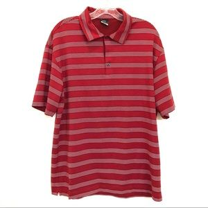 Nike Red Striped Golf Polo Dri Fit Shirt